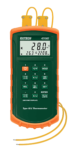 Extech 421502: J / K Tipi, Alarmlı Çift Girişli Termometre